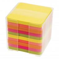 Cubo Carta Colori Neon per Appunti in Contenitore PL Trasparente - C2