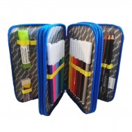 Astuccio scuola 3 cerniere completo di pastelli e pennarelli Giotto - Colourbook COL18500