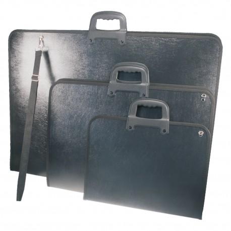Borsa Portadisegni nera cm. 53x73 in Polipropilene con maniglie e tracolla  XV5070