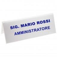 Segnaposto Bifrontale mm. 240x90 in Acrilico Trasparente. Wiler  PMMA5726