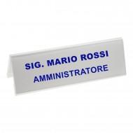 Segnaposto Bifrontale mm. 190x60 in Acrilico Trasparente. Wiler  PMMA5727