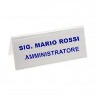 Segnaposto Bifrontale mm. 145x60 in Acrilico Trasparente. Wiler  PMMA5728