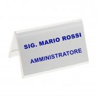 Segnaposto Bifrontale mm. 100x60 in Acrilico Trasparente. Wiler  PMMA5729