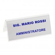 Segnaposto Bifrontale mm. 95x42 in Acrilico Trasparente. Wiler  PMMA5730