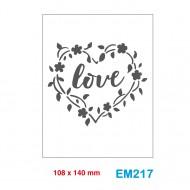 Cartella effetto rilievo 2D Embossing Forma Love in fiori a cuore - Wiler EM217