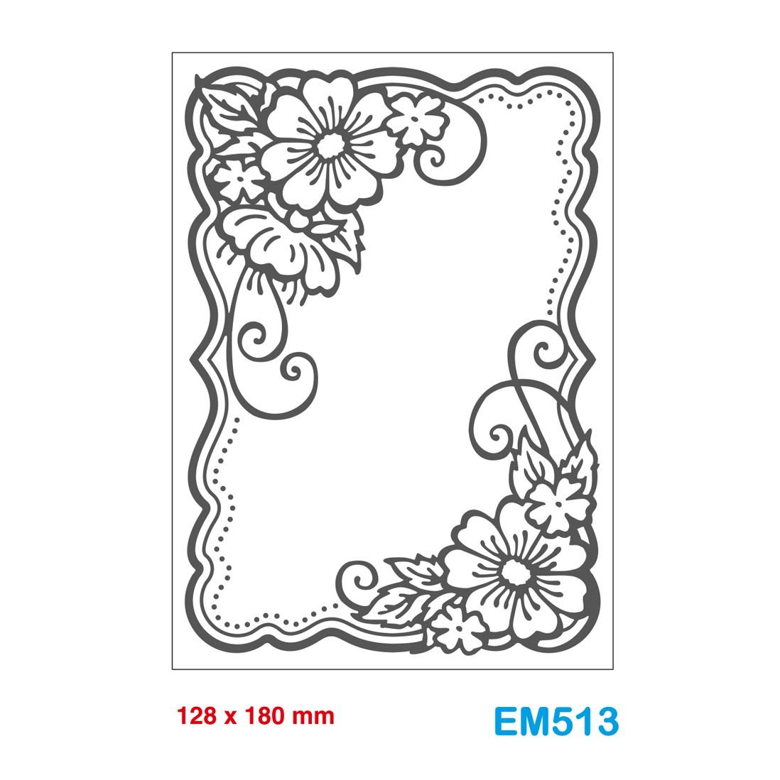 Fiori 2d.Cartella Effetto Rilievo 2d Embossing Forma Cornice Fiori 128x180mm