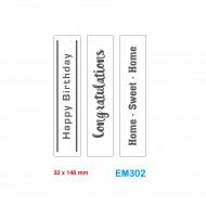 Cartelle effetto rilievo 2D Embossing set da 3 Forme Diciture 32x146mm - Wiler EM302