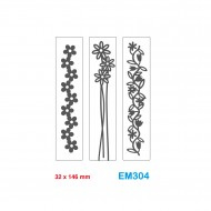 Cartelle effetto rilievo 2D Embossing set da 3 Forme Fiori 32x146mm - Wiler EM304