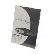"""Portadepliant  a """"L"""" Formato A5 in Acrilico Trasparente - Wiler PMMA5703"""