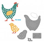 Fustelle Sottili Per Macchina Fino a 80mm forma gallina con pulcino - Wiler PC1806