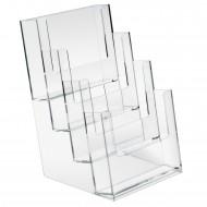 Portadepliant a 4 Scomparti A5 in Plastica Trasparene Formato cm. 16,5x24 - Lebez 5023