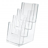 Portadepliant a 4 Scomparti (1/3 A4) in Plastica Trasparene Formato cm. 11x25 - Lebez 5022