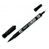 Marcatore Twin Marker Super color Permanente doppia Punta Fine / Extra Fine Colore Nero - Pilot SCA-TM-B-BG