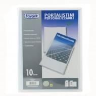 Portalistino Personalizzabile Trasparente a 10 Buste Antiriflesso Formato A4 in PPL - Favorit 100460324