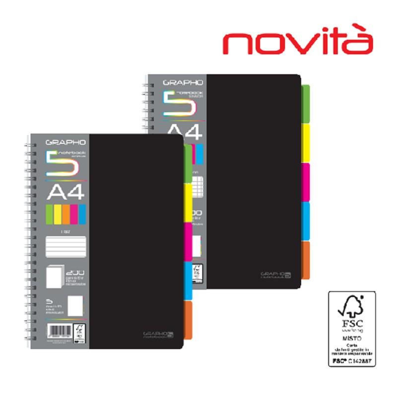 Maxi Spiralato Grapho Art Design Rigo Q A4 Notebook Con 5 Separatori