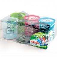 Bicchieri Portapenne in Rete - Set 6 Colori Assortiti - 1226