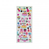 Etichette Adesive 3D in PVC con stampa metallizzata motivo Happy Birthday Wiler STK805112