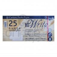 Buste senza finestra vergate bianche blister da 25 pezzi 11x22cm 100g Hi Wtrite deluxe Pigna 0082348/C1