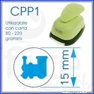 Fustella a leva perforatore craft punch per carta fustelle a mano per fustellare  sagome di cartoncino forma Treno 15 mm. CPP119