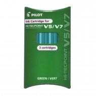 Set Refill Hi Tecpoint per V5 e V7 Ricaricabile inchiostro Liquido Verde confezione 3 cartucce Pilot 040338 BXS-IC-G-S3