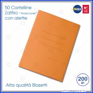 Cartelline 3 lembi 50 cartelle arancione con alette per ufficio Blasetti 619