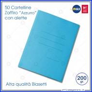 Cartelline 3 lembi 50 cartelle azzurro con alette per ufficio Blasetti Zaffiro 620