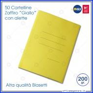 Cartelline 3 lembi 50 cartelle giallo con alette per ufficio Blasetti Zaffiro 622