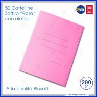 Cartelline a 3 Lembi Rosa Zaffiro 25x33cm 200g Confezione da 50 - Blasetti 624