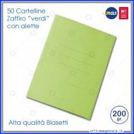 Cartelline 3 lembi 50 cartelle verde con alette per ufficio Blasetti Zaffiro 626