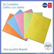 Cartelline a 3 Lembi Assortite 25x33cm Zaffiro 200g Confezione da 50 Blasetti 638