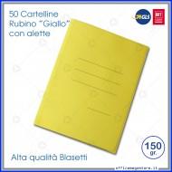 Cartelline 3 lembi 50 cartelle giallo con alette per ufficio Blasetti Rubino 697