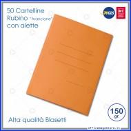Cartelline 3 lembi 50 cartelle arancione con alette per ufficio Blasetti Rubino 695