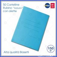 Cartelline 3 lembi 50 cartelle azzurro con alette per ufficio Blasetti Rubino 696