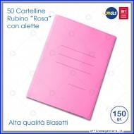 Cartelline a 3 Lembi Rosa Rubino 25x33cm 150g Confezione da 50 - Blasetti 698