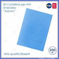 Cartelline per atti 50 cartelle azzurro senza alette per ufficio Blasetti Smeraldo 604