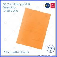 Cartelline per atti 50 cartelle senza lembi arancione per ufficio Blasetti Smeraldo 603