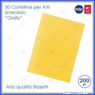 Cartelline per atti 50 cartelle senza lembi Giallo per ufficio Blasetti Smeraldo 606