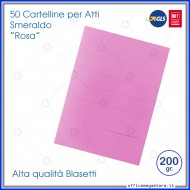 Cartelline per atti 50 cartelle senza lembi rosa per ufficio Blasetti Smeraldo 608