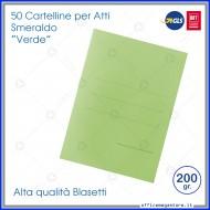 Cartelline per atti 50 cartelle senza lembi verde per ufficio Blasetti Smeraldo 610