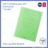 Cartelline per atti 100 cartelle senza lembi verde per ufficio Blasetti Diamante 594