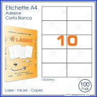 Etichette Permanenti 105x59mm 10 Adesivi 100 Fogli A4 Premium - Idlabel A410559