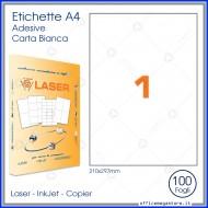 Etichette Permanenti 210x297mm 1 Adesivo 100 Fogli A4 Premium - Idlabel A4210297