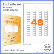 Etichette adesive permanenti prefustellate in fogli A4 per stampanti, etichetta autoadesiva bianca 22x12,7mm Finlogic A422127