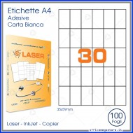 Etichette adesive permanenti prefustellate in fogli A4 per stampanti, etichetta autoadesiva bianca 35x59mm Finlogic A43559