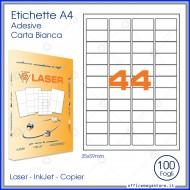Etichette Permanenti 47.5x25.5mm 44 Adesivi 100 Fogli Premium - Finlogic A447.525.5
