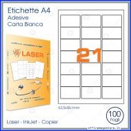 Etichette Permanenti 63.5x38.1mm 21 Adesivi 100 Fogli Premium - Idlabel A463.538.1