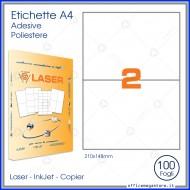 Etichette adeive Permanenti prefustellate 70 fogli A4 in Poliestere 210x148mm Bianco Opaco Premium Finlogic A4PL210148BO