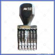 Numeratore timbro manuale a 6  bande colonne con caratteri altezza 5mm Wiler N056