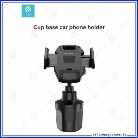 Supporto smartphone auto da vano portabicchiere regolabile DEVIA in elegante colore nero