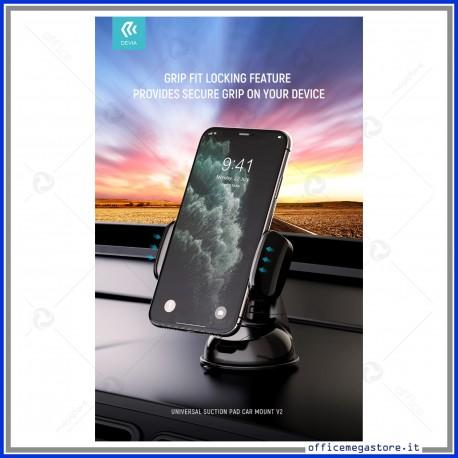 Supporto porta telefono auto smartphone da 3,5 a 6,5 pollici a ventosa DEVIA in elegante colore nero
